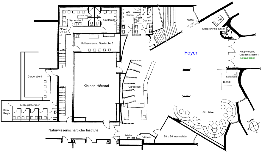 Grundriss Hotelfoyer : Saal infrastruktur foyer aula rämibühl zürich